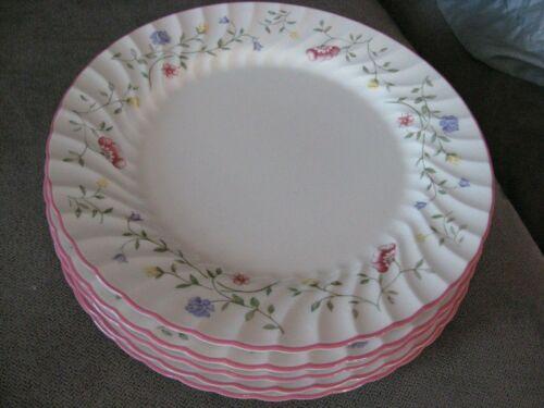 "Johnson Bros England Summer Chintz 5 dinner plates 10 1/2"" earthenware pink trim"