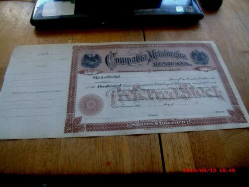 UNUSED TOP SHAPE  EARLY 1900S COMPANIA METALURGICA  MEXICANA STOCK CERTIFICATE.