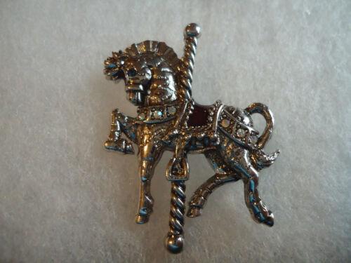 Danecraft vtg/nos silver tone rhinestone Carousal Horse pin