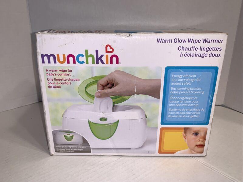 Munchkin Green White Warm Glow Flip Top Soft Night Light Baby Wipe Warmer