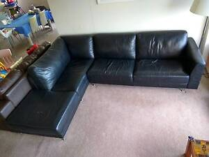Black L-shaped leather sofa Lane Cove West Lane Cove Area Preview