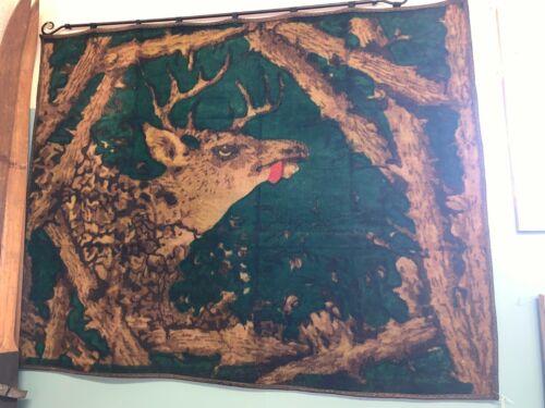 Antique Horse Hair Wool Carriage Buggy Sleigh Blanket Robe With Deer Head