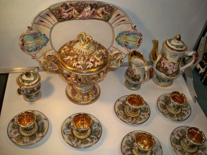 capodimonte cherub tea tureen platter set 20 piece gold gilt Beautiful Condition