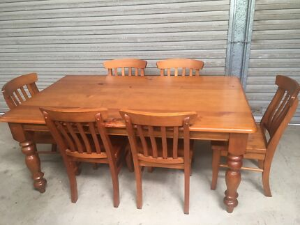 Timber Dining Table And 6 Chairs Matching Buffet Hutch