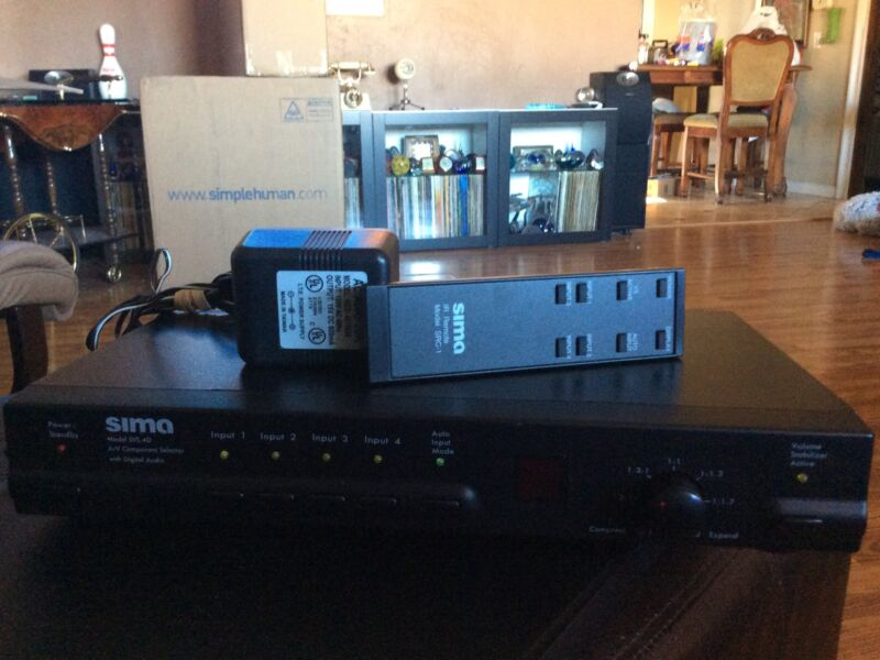 SIMA SVS-4 A/V COMPONENT SWITCHER SELECTOR WITH DIGITAL AUDIO W/ Remote & Ac