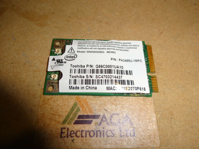 Toshiba Satellite Pro A120, Tecra A8 Laptop Wireless WiFi Card. G86C0001UA10