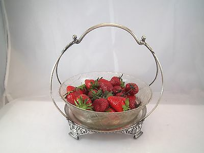 ANTIQUE SPLENDID AESTHETIC MOVEMENT BRIDE BASKET REED BARTON GLASS WOVEN INSERT