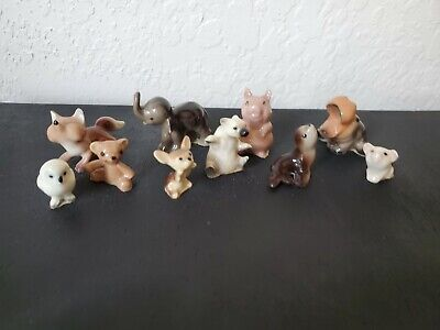 Hagen Renaker Miniature  Figurine Lot OF 10 Fox, Hippo Owl Pig Chihuahua Bear