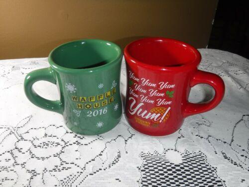 Lot of 2 Waffle House Holiday Seasonal Coffee Mugs  New