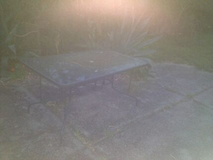 Outdoor glass table with chairs