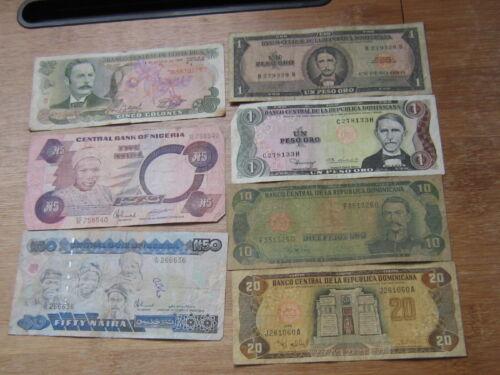 Lot of 7 World Paper Money #2791