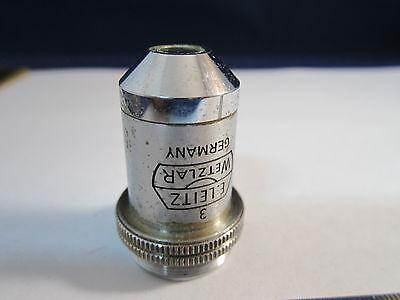Vintage Optical Microscope Part Objective 10x Leitz Germany Optics Bin14b