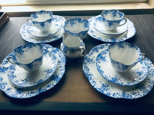 SHELLEY ENGLAND FINE BONE CHINA DAINTY BLUE CUP, SAUCER, SALAD, CREAM-SUGAR