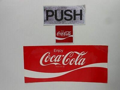 (2) VINTAGE COCA - COLA VINYL STICKERS 1 PUSH ENJOY COCA - COLA & 1 TRADE-MARK