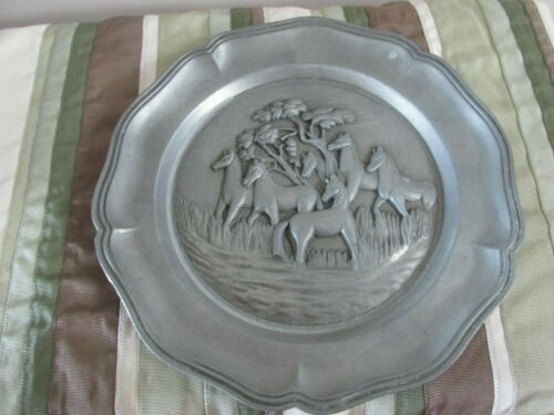 """Pewter Horses & Tree Plate  95/100 w/ Emblem   8.5""""    Free Shipping"""