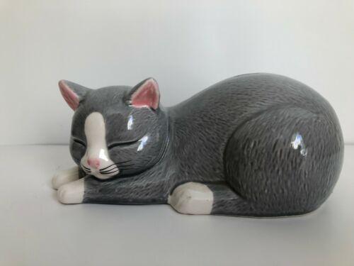 Sweet Gray and White Ceramic Cat Bank Piggy Bank Same Day Ship