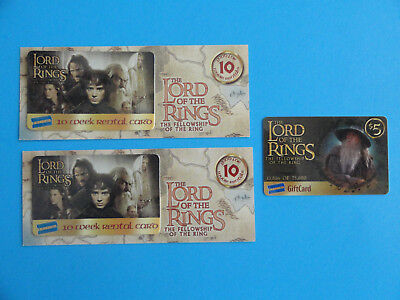 3 LORD OF THE RINGS GIFT CARDS GANDALF #13,816 OF 75,000 + -NO VALUE ON CARDS-