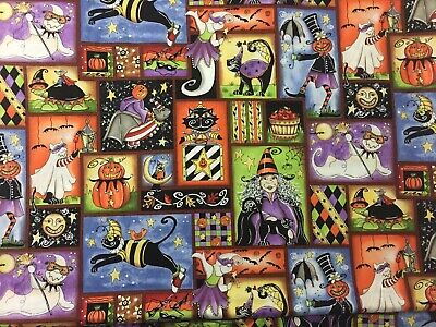 Boo Pumpkin (Halloween BOO CREW Witch Pumpkin Jack O Lantern Cats Bats in Boxes Fabric)