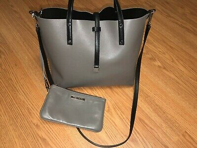 Tiffany &Co REVERSIBLE leather tote Medium shoulder bag black grey long strap](Tiffany And Co Bags)