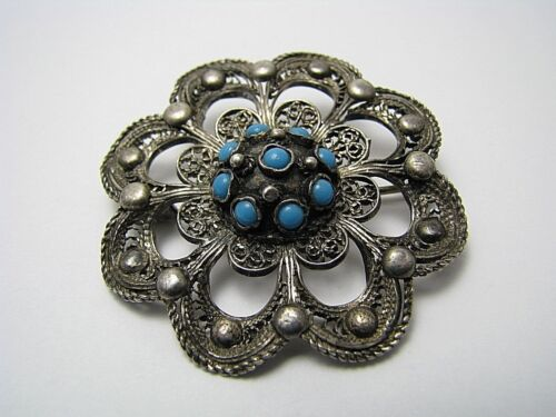 STERLING SILVER BROOCH PIN TURQUOISE FILIGREE Middle East Palestine ca.1900