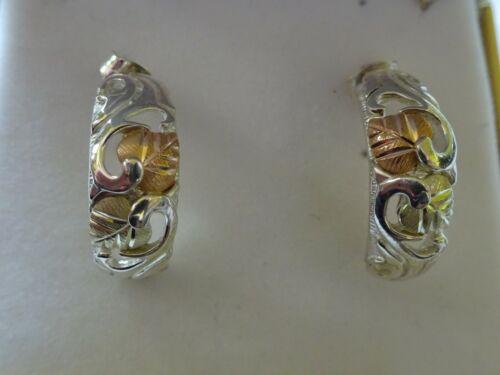 vintage Black Hills Gold - LEAF VINE DEMI-HOOP EARRINGS - Sterling/12K