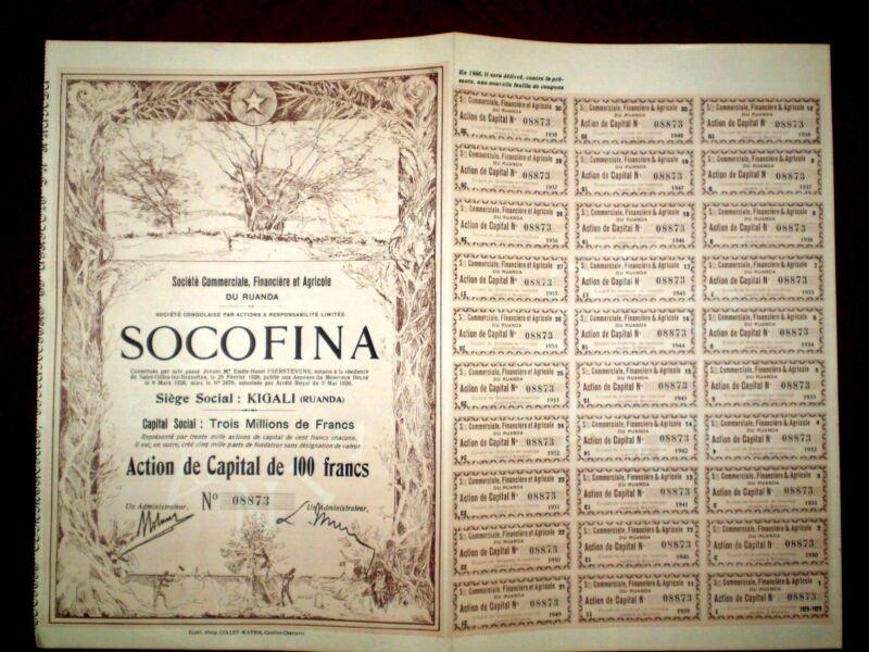 Ruanda stock certificate SOCOFINA 1928 100francs VF