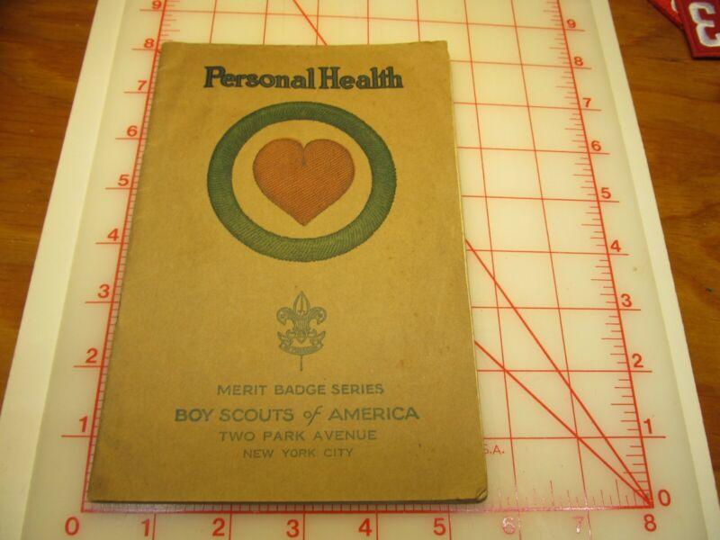 Tan cover Personal Health merit badge book February 1931 type (3B)