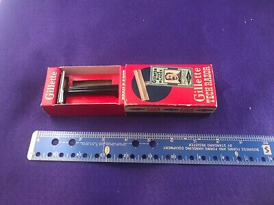ANTIQUE BARBER HOT SHAVE GILLETTE TECH RAZOR IN ORIGINAL BOX BLUE BLADES RAZORS