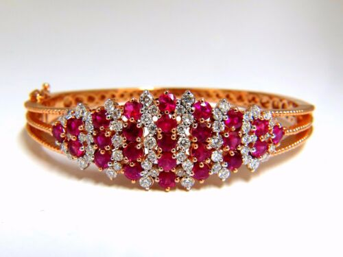6.16ct Natural Round Cut Ruby Diamonds Bangle Bracelet 14kt Victorian+