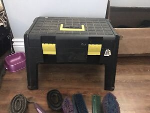 Boots, tack box and saddle pads for sale