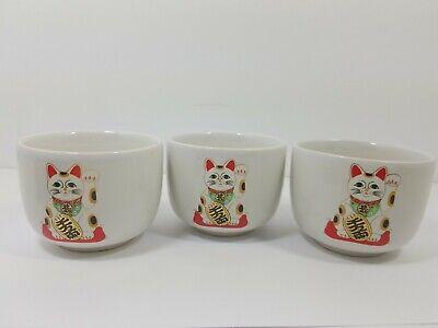 MANEKI NEKO Set Of 3 Tea Cups Good Fortune Cat Porcelain JAPAN