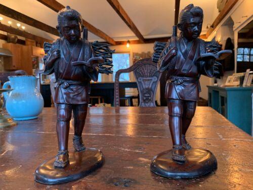 Beautiful Pair of Japanese Signed Bronze Statues of Ninomiya Figure