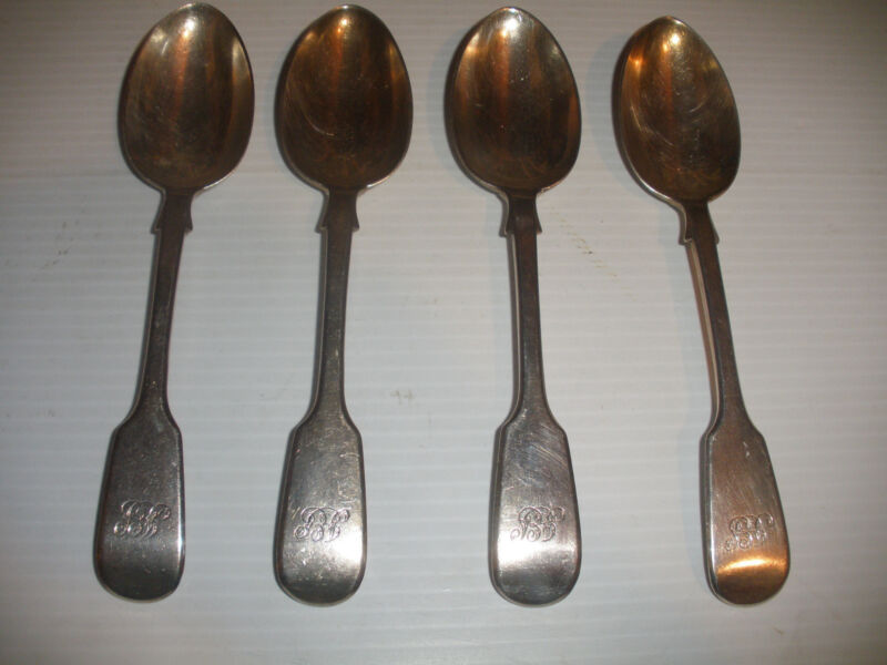 Set of 4 antique Sterling Silver  Charles Boyton Old English Spoon spoons 1865