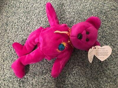 Ty Beanie Babies Purple Millennium Bear 1999 New Always in Package - Purple Bear