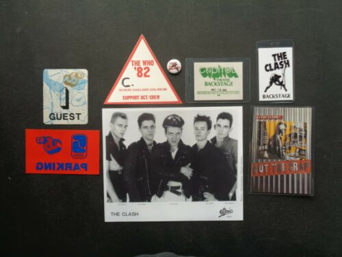 CLASH,B/W Promo Photo,4 Backstage passes,Post Card,steel pin,window decal