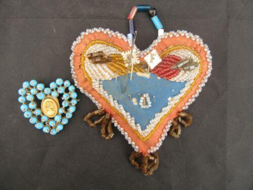 Antique Victorian Beaded Heart Pin Cushion W/ Pins & Blue Beaded Heart Brooch