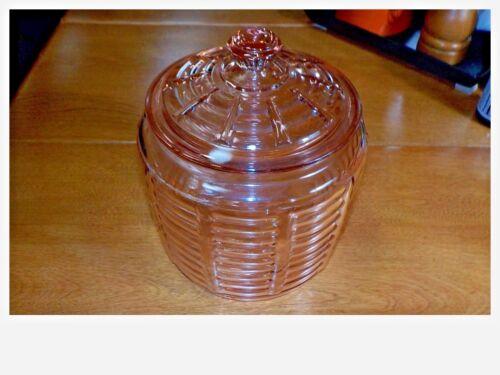 VINTAGE RIBBED PINK DEPRESSION COVERED CRACKER JAR