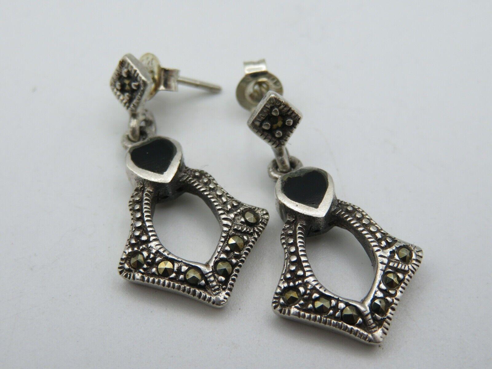 Art Deco Stil Silber 925 OhrringeOhrhängerMarkasiteOnyx