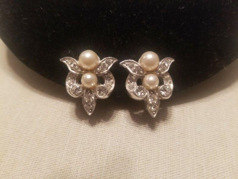 Antique Rhodium Plated Pearl Rhinestones Earrings Art Nouveau Bridal Earrings