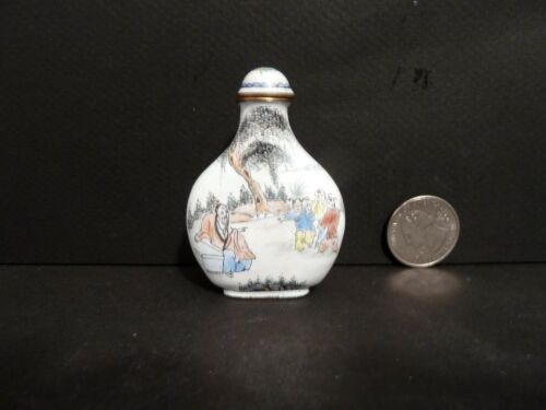 """Chinese export cloisonne Poet & Poetry boy snuff bottle 2 3/8"""" h stunning 594"""