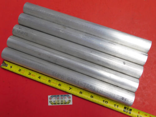 """5 Pieces 1-1/8"""" ALUMINUM 6061 ROUND ROD 12"""" long Solid T6511 Extruded BAR STOCK"""