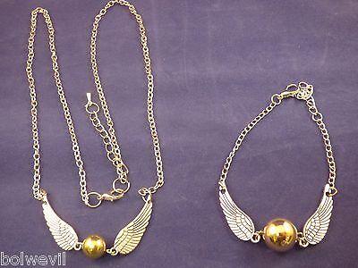 Harry Potter Golden Snitch Angel Wings NECKLACE & BRACELET Combo USA ()