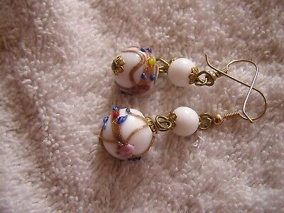 Vintage Venetian Glass Earrings White Pink ()
