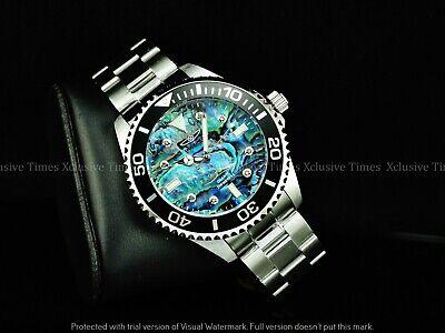 Invicta Men 47mm GRAND PRO DIVER 0.03 CARAT DIAMONDS Abalone Dial SS Watch 200MM
