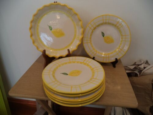 """MESA HANDCRAFTED STONWARE Fluted Pie Pan Lemons 10"""" & 6 - 9"""" MATCHING PLATES"""