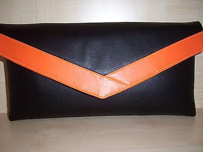 ORANGE & BLACK Faux leather envelope clutch bag. LOVINGLY Handmade ...