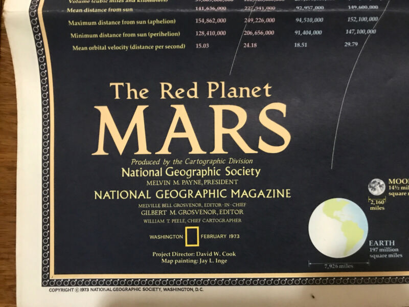 1973 (Feb) Mars; National Geographic; Very Good Condition