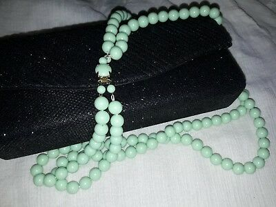 Vintage West Germany Plastic Ball Bead Necklace - Mint Pistachio Green bakelite?
