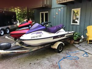 2003 Seadoo Xp Di And 2002 Gti With Double Trailer