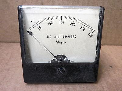 Simpson Panel Meter Dc Milliamp 0-300  48122